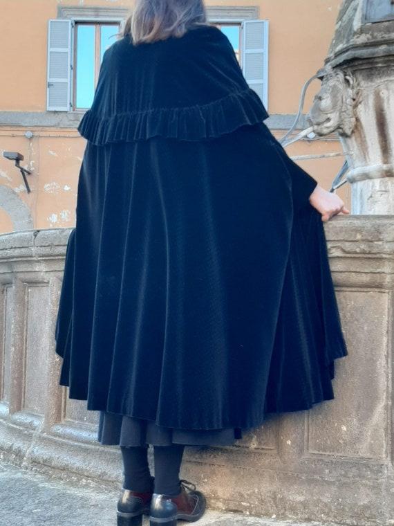 A very vintage velvet cape/polka dot velvet hood