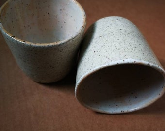 Set of two speckle stoneware tumblers or latte cups