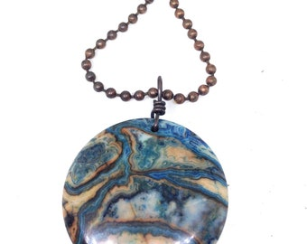 Blue crazy lace agate stone necklace