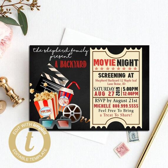 Printable Backyard Movie Night Party Invitation Movie Night Invitation Movie Night Birthday Party Invitations Diy Party Invitation