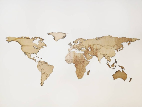 Laser Cut World Map.Lasercut Wooden World Map 3mm Plywood Etsy