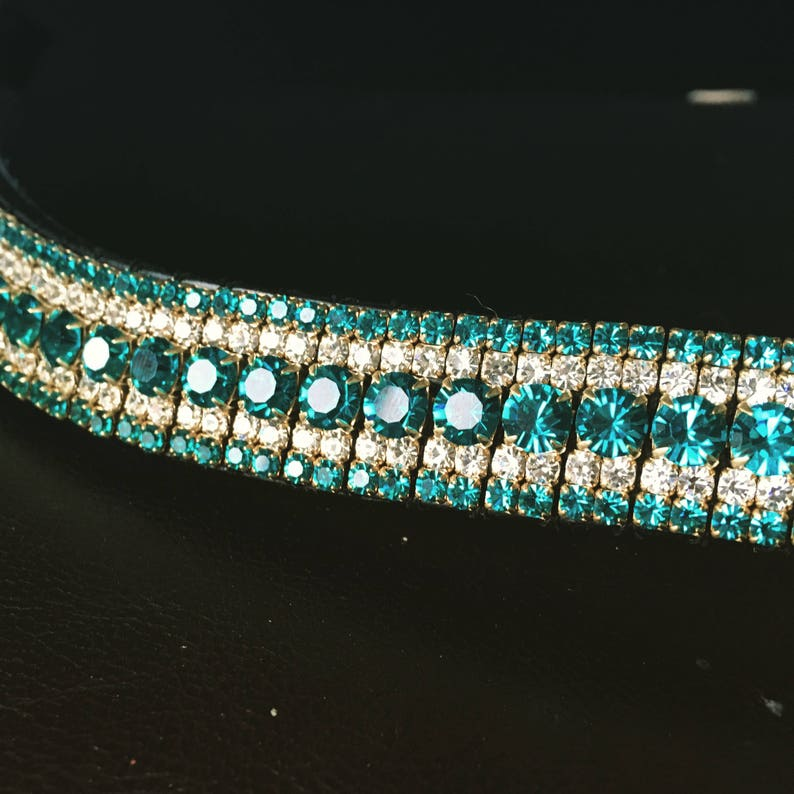 Turquoise and Clear Gorgeous custombespoke dressage crystal browband Any Size!