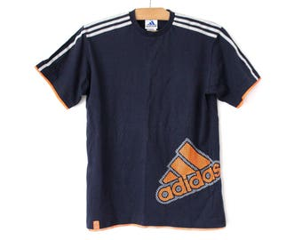 Vintage Adidas T shirt Short Sleeve Blue Sweatshirt Trefoil
