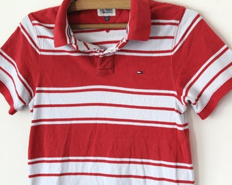 7f4fd274 90's Tommy Hilfiger Shirt, Vintage Tommy Hilfiger Sweatshirt, Red White  Tommy T-shirt, Stripe Tommy Polo Shirt, Hip Hop Tommy Tee Size M