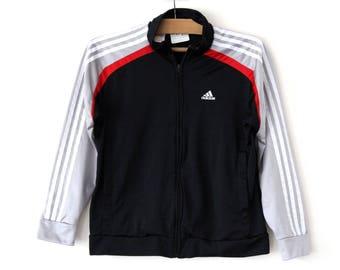 Vintage Adidas Trainingsanzug Retro Windbreaker graue Jacke