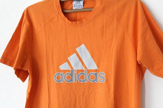 Vintage Adidas TShirt, 90's Adidas Sweatshirt, Orange Adidas Shirt, Short Sleeves Adidas T Shirt, Adidas Big Logo, Adidas Tee Size L