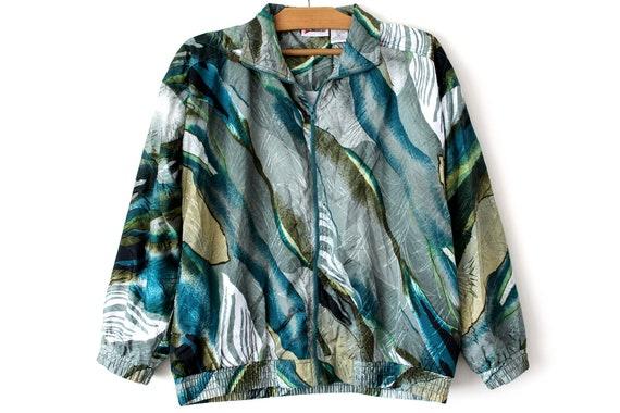 80's Very Rare Windbreaker, Colorful Jacket, Vintage Shiny Tracksuit, Retro Zip Up Sweatshirt, Bomber Jacket, Green Gray Jacket, Size XL
