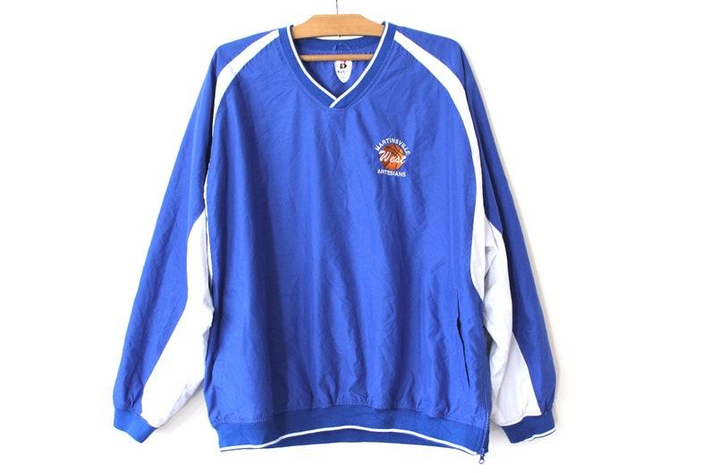 Retro Pullover Jacket Blue White Windbreaker Rare Sweatshirt Hip Hop Streetwear Training Jacket Size 2XL Vintage Basketball Light Jacket