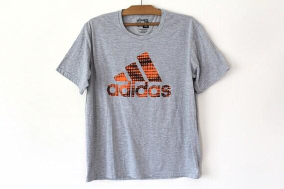 Vintage Adidas T shirt, Adidas Big Logo, Gray Adidas Sweatshirt, Adidas Shirt, Hip Hop Rap Dance, Short Sleeve Adidas T Shirt Size 2XL