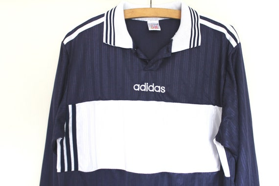 90's Adidas Football Shirt, Made in England, Vintage Soccer Jersey, Blue White Football Jersey Very Rare Shiny Training Jersey, Size L