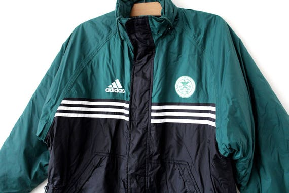 90's Adidas Jacket, Vintage Puffer, Winter Black Green Adidas Windbreaker, Rare Hooded Jacket, Puffa Coat, Hip Hop Streetwear, Size L