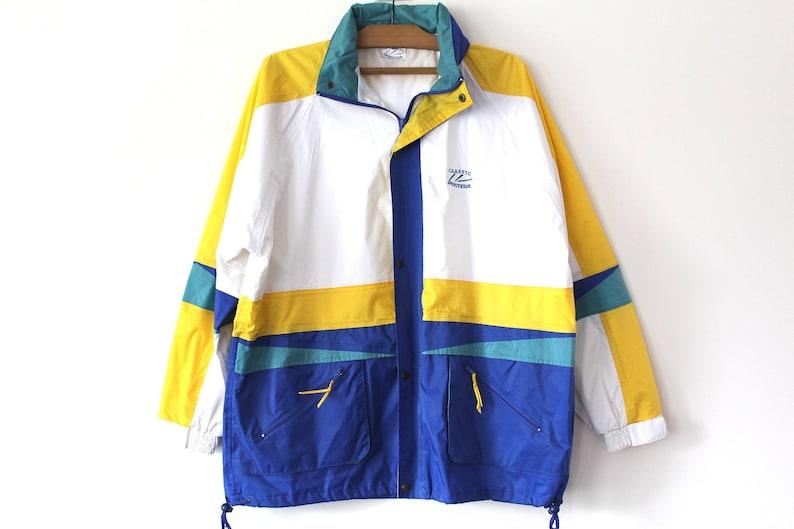 5520ccbf24b5 Vintage 90 s Nylon Jacket Blue White Yellow Nylon