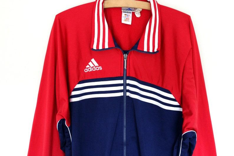 72d5de9a7b Sweat-shirt Adidas blanc bleu rouge veste Adidas Vintage | Etsy