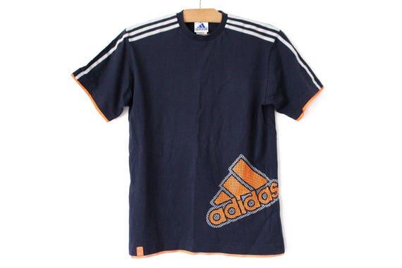 90's Adidas Shirt, Vintage Adidas T shirt, Hip Hop Streetwear, Blue Orange Adidas Tshirt, Adidas Big Logo, Short Sleeve Adidas Sweatshirt