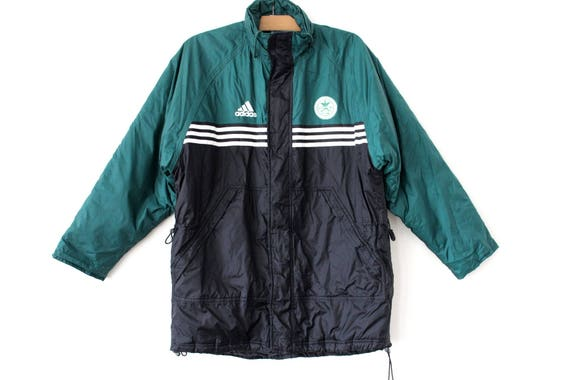 Aislar donante Pulido  90's Adidas Jacket Vintage Puffer Winter Black Green | Etsy