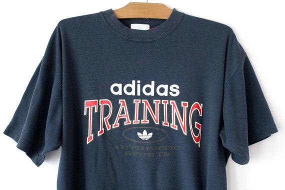 Vintage Adidas T shirt, Short Sleeve Blue Sweatshirt, Trefoil Tshirt, Training Shirt, Hip Hop Streetwear, Sportswear, Activewear