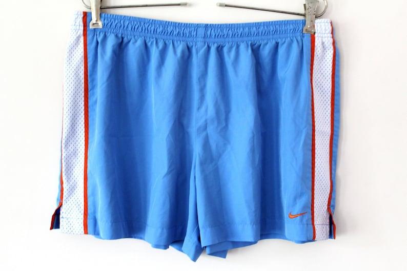 756943b3c8 Blue White Orange Nike Shorts Vintage Nike Workout Shorts   Etsy