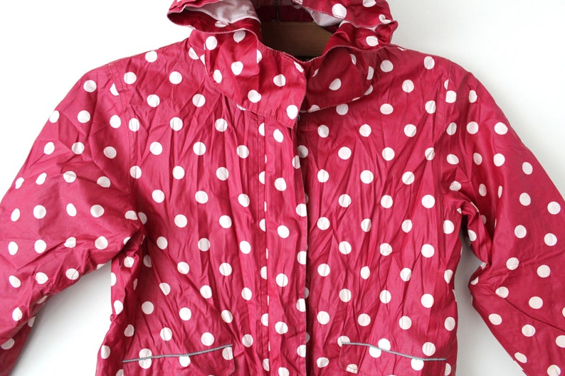 Size Girls 134-140cm Hooded Waterproof Children Rain Jacket Burgundy Rain Jacket Polka Dot Jacket Vintage Girls Raincoat Kids Raincoat