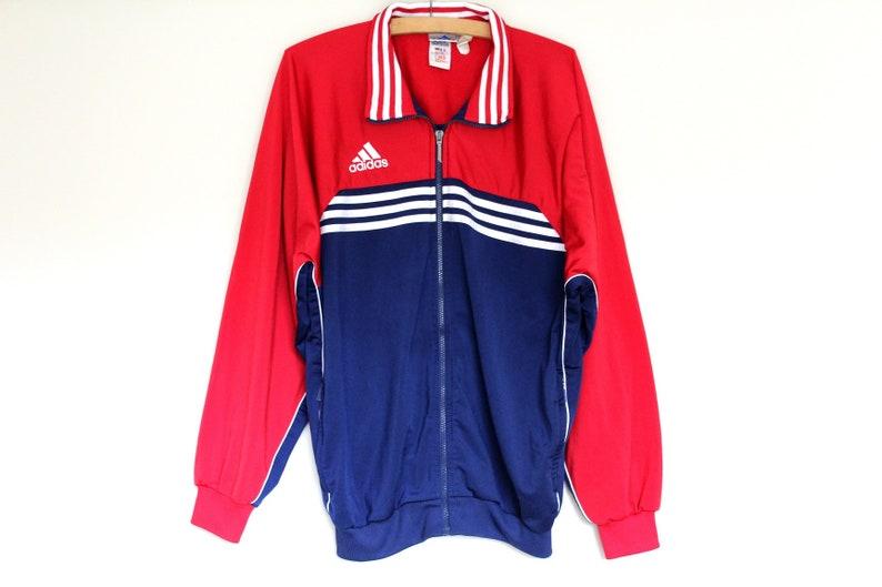 Rot blau weiß Adidas Sweatshirt, Vintage Adidas Jacke, 90er
