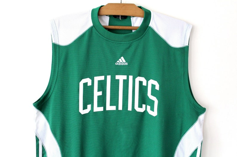 sneakers for cheap 5acb1 edd1f Vintage Adidas Celtics Jersey, Green White NBA Jersey, Boston Celtics  Training Shirt, X Large Basketball Tank Top, Adidas Tank Top