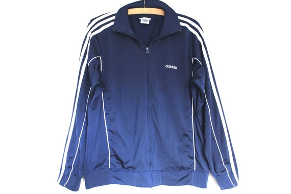 Navy Blue White Adidas Jacket, Vintage Adidas Windbreaker, Hip Hop Clothing, Training Adidas Top, Adidas Running, Adidas Sweatshirt, Size M