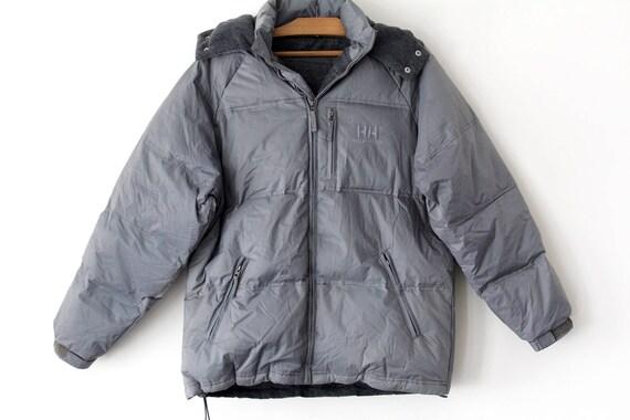 90er Jahre Helly Hansen Daunenjacke, Vintage Warm Puffer Jacke, grau Kapuze Winterjacke, Hip Hop Down Puffer, Größe L