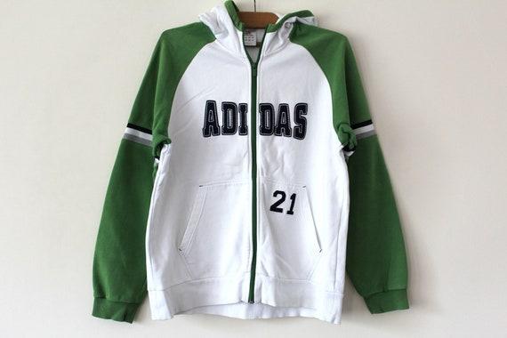 Vintage Adidas Sweatshirt White Green Adidas Hoodie 90 s  2b4700417c27