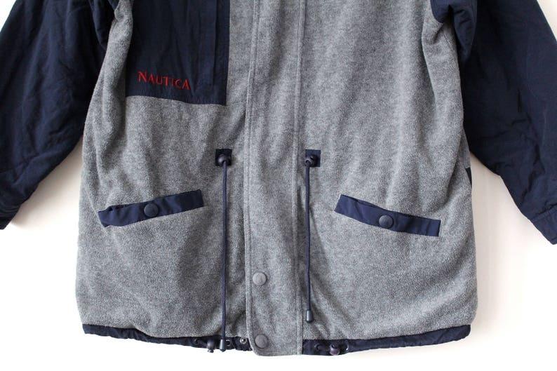 Jahrgang Nautica Jacke, 90er Nautica Reversible Jacke, Winter Nautica Windbreaker blau grau Nautica Fleece Jacke, Nautica Segeln Größe L