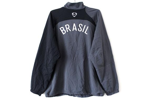 Nike Windbreaker vintage, 90's CBF Brazil Jacket, Black Gray Football Jacket, Soccer Tracksuit, Rare Sport Jacket, Size XXL