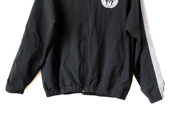 Jahrgang Nike Windbreaker, 90er Jahre Jacke, schwarz grau Reißverschluss Sweatshirt, Hip Hop Trainingsanzug, Nike Sport Jacke, seltene Nike Top Size L