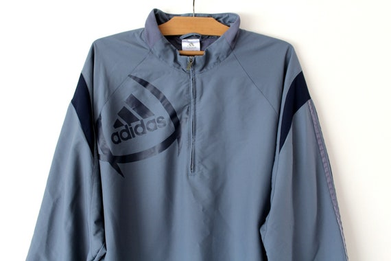 Vintage Adidas Jacket In Blue & Grey