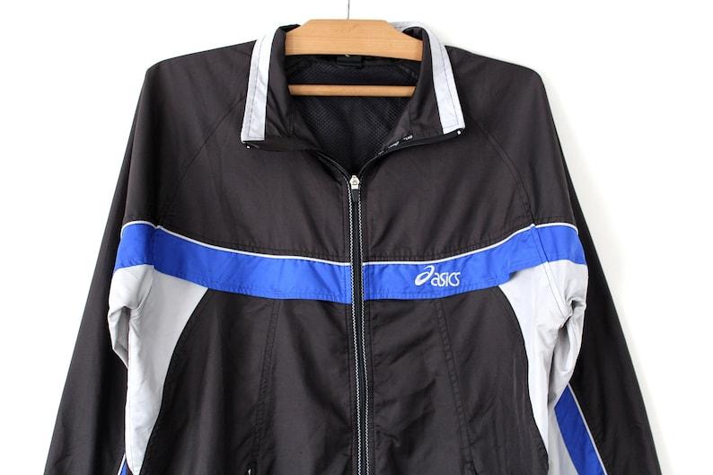 715af893e081 Vintage Asics Windbreaker 90 s Asics Jacket Black Blue