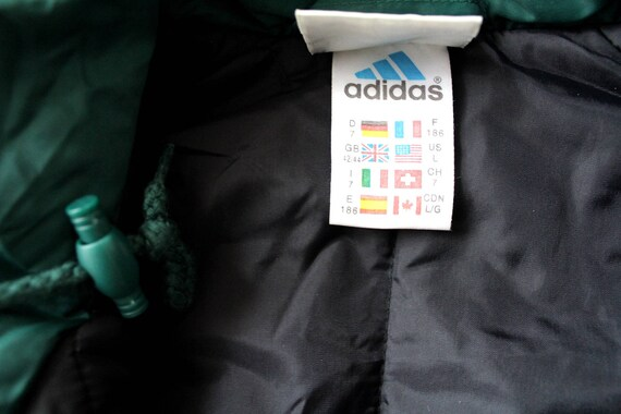 90er Jahre Adidas Jacke, Vintage Puffer, Winter schwarz grün Adidas Windbreaker, seltene Kapuzenjacke, Puffa Mantel, Hip Hop Streetwear, Größe L