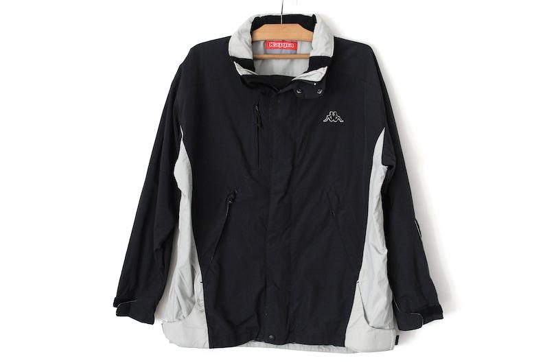 Veste Kappa, Vintage des années 90 un manteau coupe vent Kappa, Kappa Beige noir, rétro Kappa veste de Ski de l'hiver, Nylon Rare Kappa Parka veste