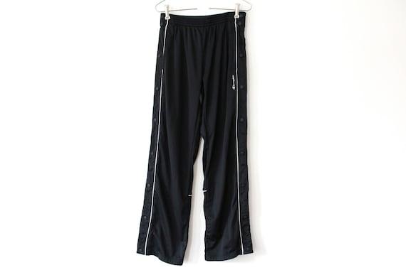 Pantalon Adidas, pantalon sport vintage, pantalon à vent noir, brise vent rétro, pantalon de course athlétique, fond de piste, Streetwear Hip