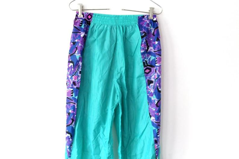 2947e5debf4c Green Purple Nylon Pants Vintage Nylon Windbreaker 90 s
