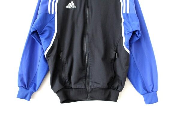 90er Jahre schwarze Adidas Jacke, blau Adidas Windbreaker, Jahrgang Adidas Sweatshirt Retro Adidas Trainingsanzug, seltene Adidas Track Top, Größe M