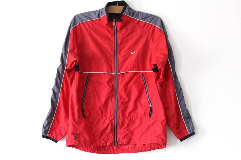 0e1b6e1a3c21 90 s Vintage Nike Windbreaker Red Gray Nike Jacket Retro