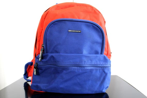 ac193c36fe0 Vintage United Colors of Benetton Backpack 90 s Blue   Etsy