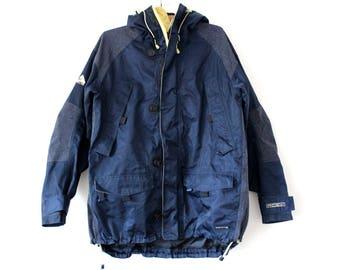 Vintage 90's Nike Jacket, Blue Yellow Nike ACG Winter Jacket, Rare Long Hooded Nike Windbreaker, Nike Swoosh, Hip Hop, Large Size Nike Coat