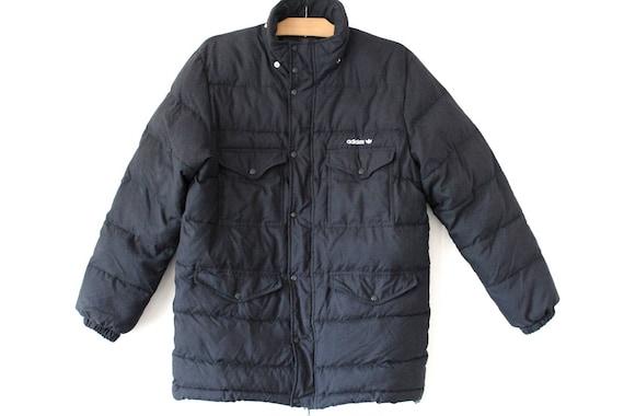 Vintage 90er Jahre Adidas Jacke, schwarze Puffer Jacke, lange Parka Winterjacke, seltene warme Windbreaker, Retro Mountain Sport Jacke Größe M