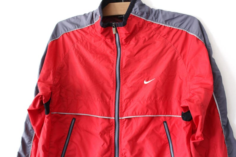 reputable site 37950 59a9c 90 s Vintage Nike Windbreaker Red Gray Nike Jacket Retro   Etsy