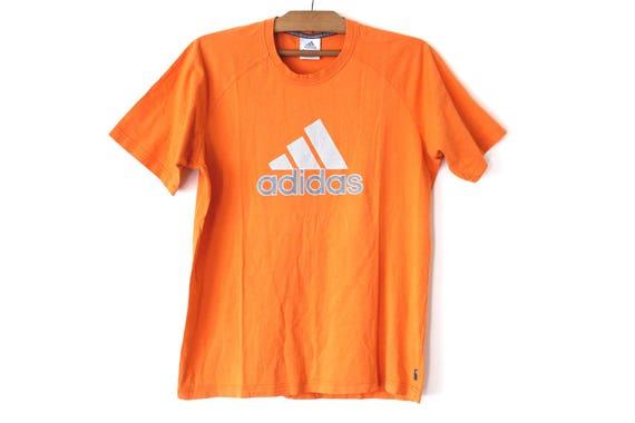 Vintage Adidas TShirt, 90's Sweatshirt, Orange Shirt, Short Sleeves T Shirt, Big Logo, Hip Hop Streetwear, Training Shirt, Size L