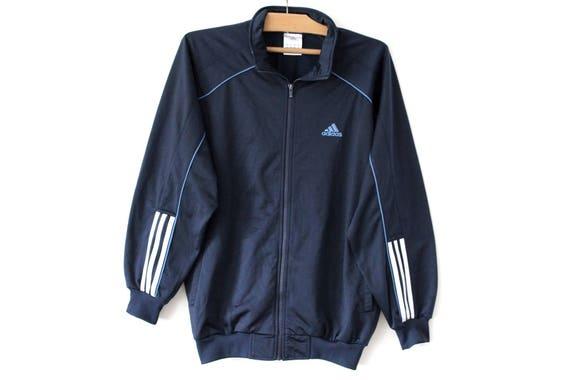 90er Jahre Adidas Sweatshirt, Vintage Windbreaker, blau weiß Jacke, Training Trainingsanzug, Trainingsjacke, Adidas Tennis, Activewear