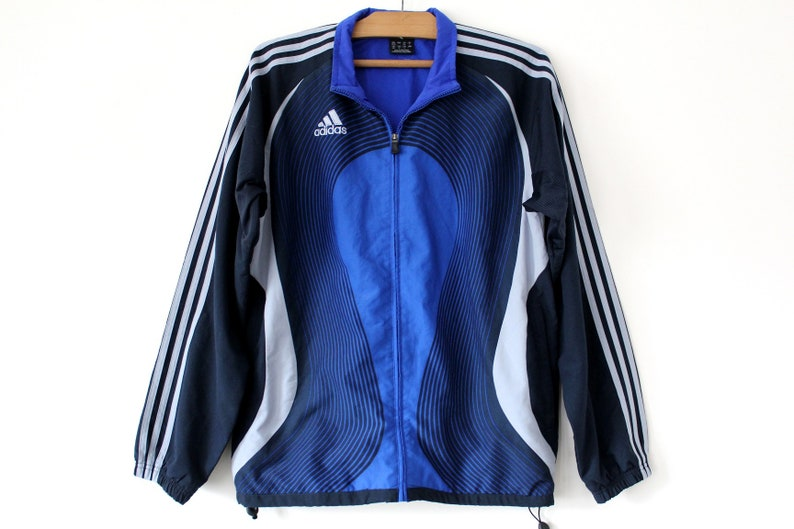 Jahrgang 90er Jahre Adidas Windbreaker, blau schwarz Sportjacke, seltene Streetwear, Hip Hop Trainingsanzug, Tennis Track Top, Größe D 5, F 174