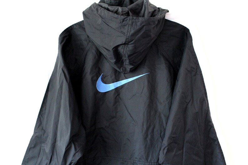 90 s Nike Windbreaker Vintage Nike Jacket Black Blue  a94770321