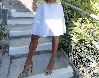 White skirt in a-line, plate skirt in cotton, white Midirock, knee-length white skirt, classic-elegant skirt, white cotton skirt,