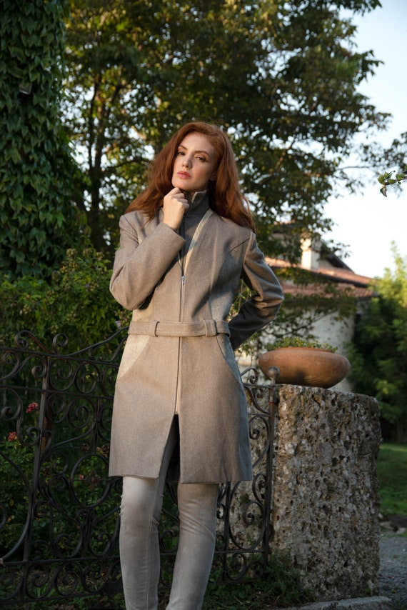 Wool Leather GrauGrey Wintermantel CoatTransition Structure Application Coat With Wolle InsertLight In Short NOm0w8vn