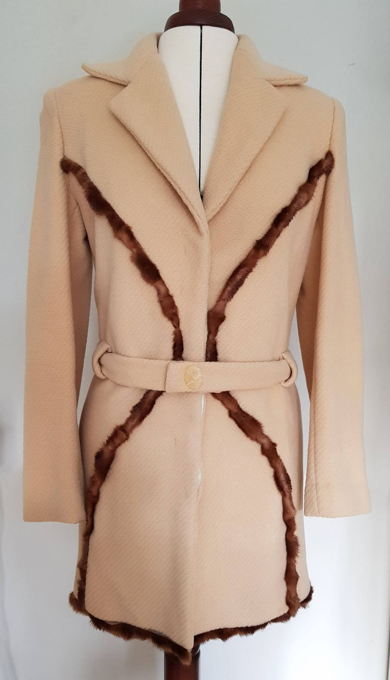 new styles bc7f5 1ea57 WINTERMANTEL from ANGORA and NERZFELL in Camel, beige wool coat, beige  transitional coat, Angora coat, beige short coat with fur detail