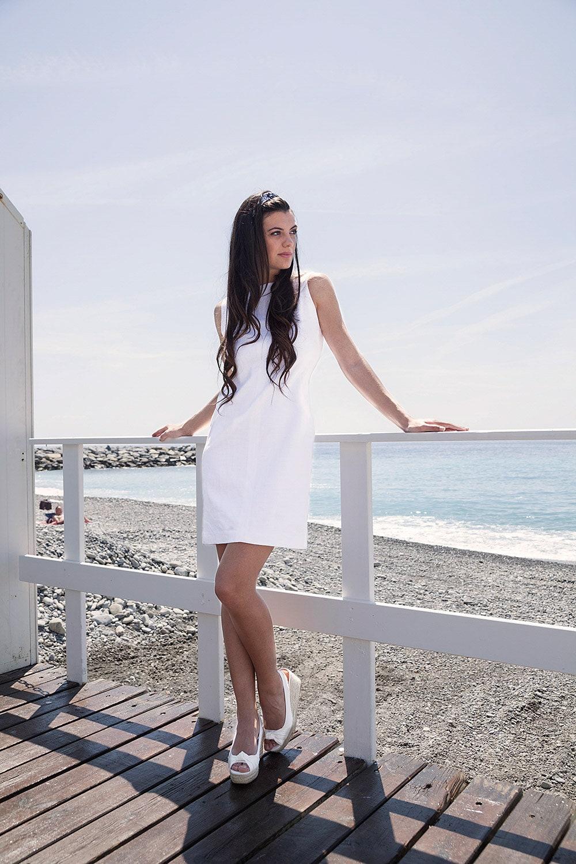 etuikleid in leinen in weiss, white short dress, summer dress in white,  linen dress in white, knee-length dress in white, business dress